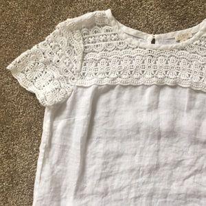 JCrew white linen top size 0